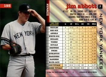 1994 Bowman #193 Jim Abbott Back