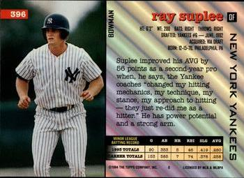 1994 Bowman #396 Ray Suplee Back