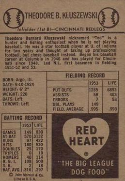 1954 Red Heart Dog Food #NNO Ted Kluszewski Back