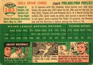 1954 Topps #183 Earle Combs Back