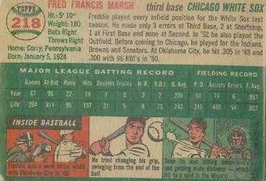 1954 Topps #218 Fred Marsh Back