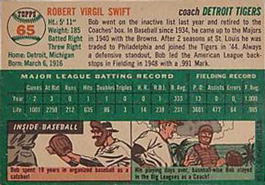 1954 Topps #65 Bob Swift Back