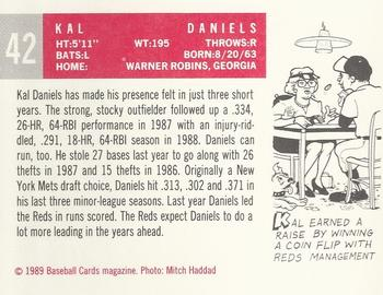 1989 Baseball Card Magazine '59 Topps Replicas #42 Kal Daniels Back
