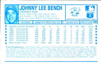 1974 Kellogg's #28 Johnny Bench  Back