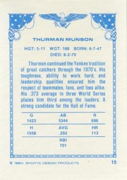 1984-85 Sports Design Products #15 Thurman Munson Back