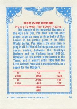 1984-85 Sports Design Products #34 Pee Wee Reese Back