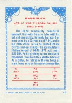 1984-85 Sports Design Products #47 Babe Ruth Back