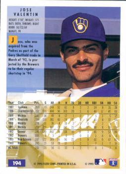1994 Fleer #194 Jose Valentin Back