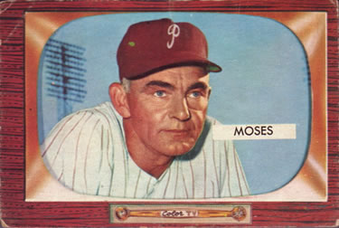1955 Bowman #294 Wally Moses Front
