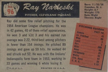 1955 Bowman #96 Ray Narleski Back