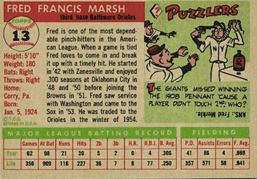 1955 Topps #13 Fred Marsh Back