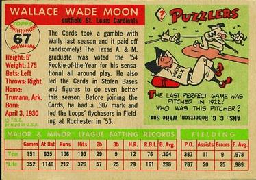 1955 Topps #67b Wally Moon Back