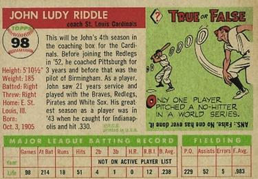 1955 Topps #98 Johnny Riddle Back