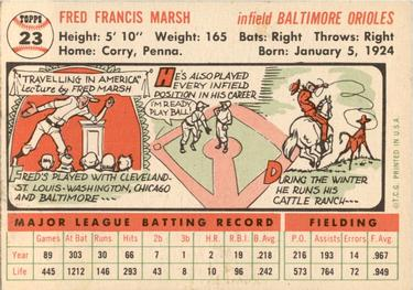 1956 Topps #23a Fred Marsh Back