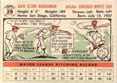 1956 Topps #29a Jack Harshman Back