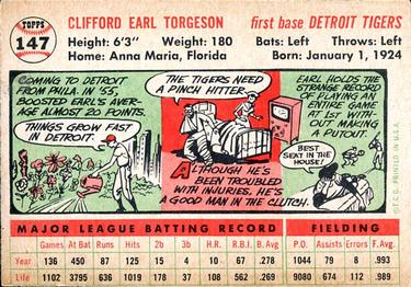 1956 Topps #147a Earl Torgeson Back