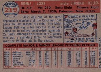 1957 Topps #219 Tom Acker Back