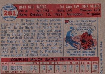 1957 Topps #281 Gail Harris Back