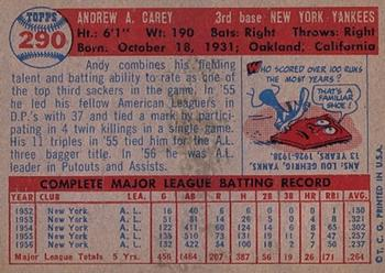 1957 Topps #290 Andy Carey Back