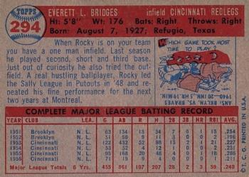 1957 Topps #294 Rocky Bridges Back