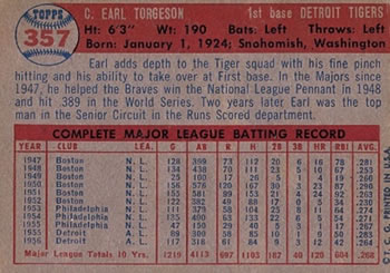 1957 Topps #357 Earl Torgeson Back