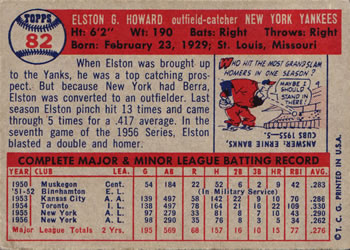 1957 Topps #82 Elston Howard Back