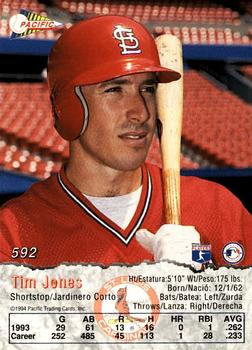 1994 Pacific Crown Collection #592 Tim Jones Back