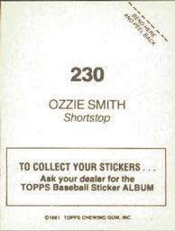 1981 Topps Stickers #230 Ozzie Smith Back