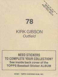 1981 Topps Stickers #78 Kirk Gibson Back