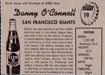 1958 Hires Root Beer #19 Danny O'Connell Back