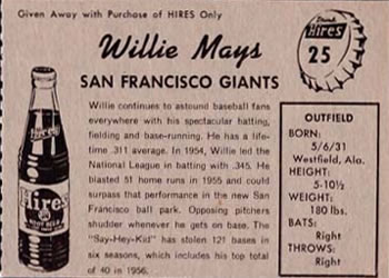 1958 Hires Root Beer #25 Willie Mays Back