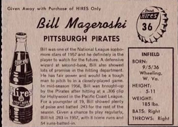 1958 Hires Root Beer #36 Bill Mazeroski Back