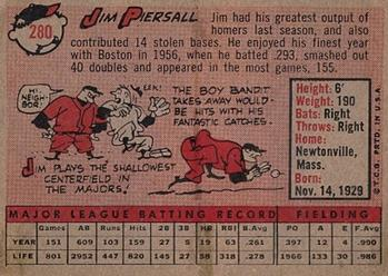 1958 Topps #280 Jim Piersall Back