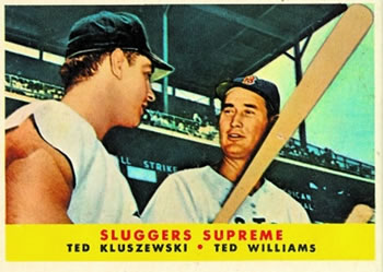 1958 Topps #321 Sluggers Supreme (Ted Kluszewski / Ted Williams) Front