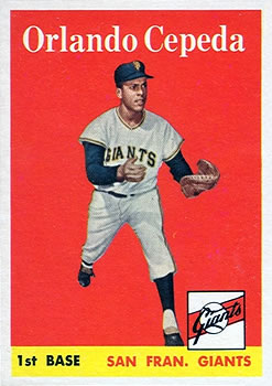 1958 Topps #343 Orlando Cepeda Front