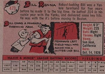 1958 Topps #473 Bill Renna Back