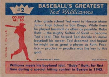 1959 Fleer Ted Williams #2 Ted Williams / Babe Ruth Back