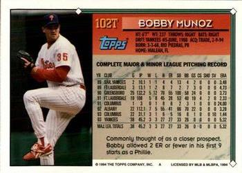 1994 Topps Traded #102T Bobby Munoz Back