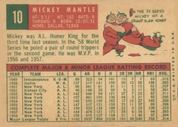 1959 Topps #10 Mickey Mantle Back