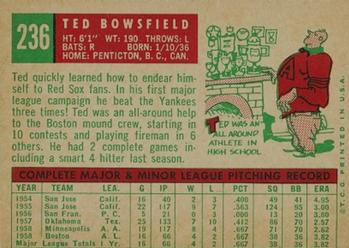 1959 Topps #236 Ted Bowsfield Back