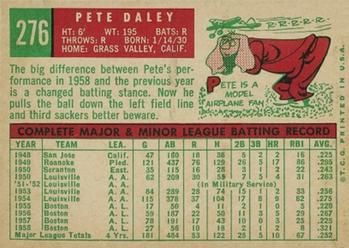 1959 Topps #276 Pete Daley Back