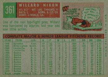 1959 Topps #361 Willard Nixon Back