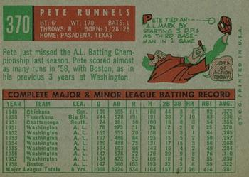 1959 Topps #370 Pete Runnels Back