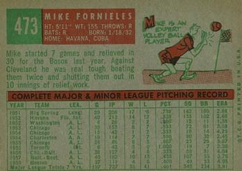 1959 Topps #473 Mike Fornieles Back