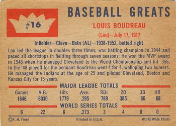 1960 Fleer Baseball Greats #16 Lou Boudreau Back