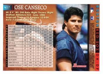 1995 Bowman #417 Jose Canseco Back