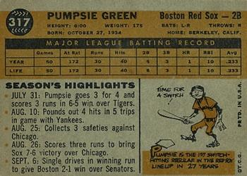 1960 Topps #317 Pumpsie Green Back