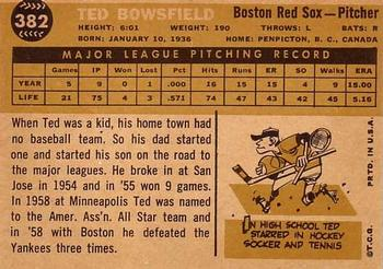 1960 Topps #382 Ted Bowsfield Back