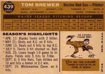 1960 Topps #439 Tom Brewer Back