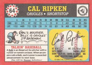 1989 Topps UK Minis #64 Cal Ripken Jr. Back